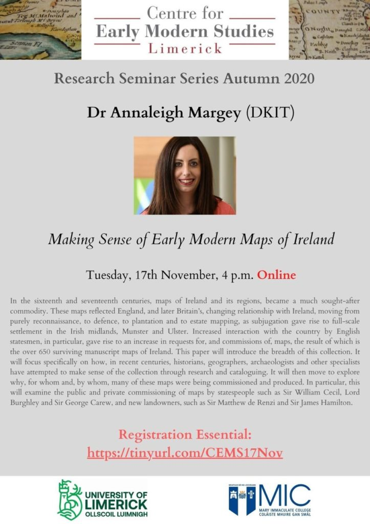 University of Limerick Centre for Early Modern Studies Autumn 2020 Research Seminar